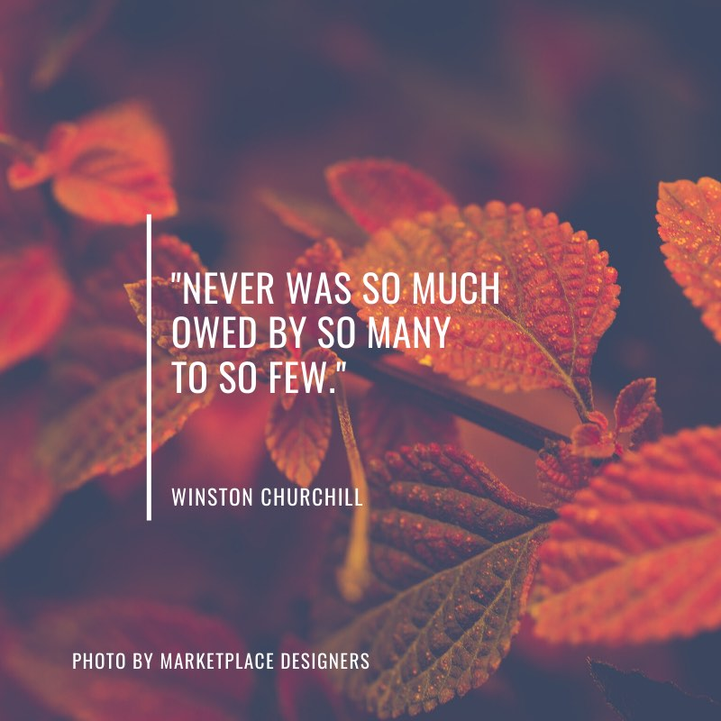 """Never was so much owed by so many to so few.""  Winston Churchill"